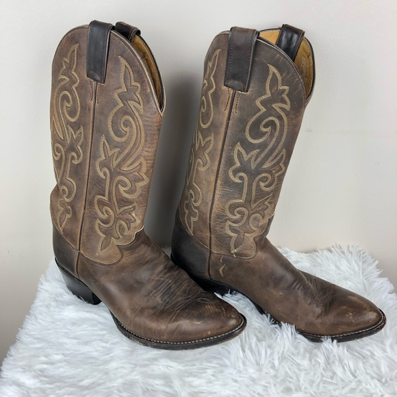 38d073f8cc9 Vtg Justin Leather Cowboy Boots Embroidered Brown